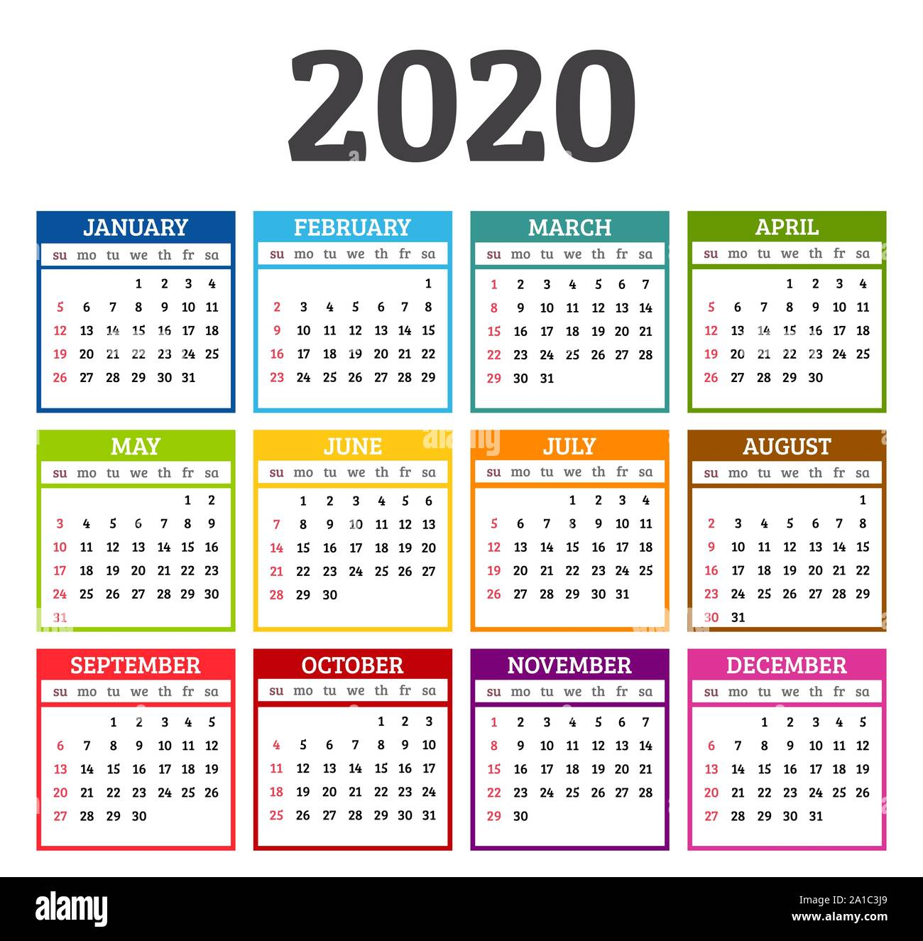 Colorful Calendar Year Week Starts From Sunday