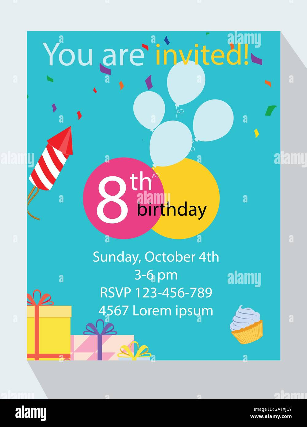 https www alamy com birthday party invitation card you are invited 8th birthday image328196875 html