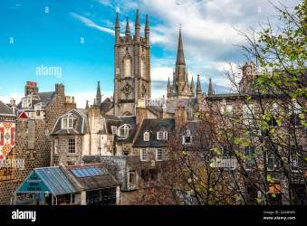 Medieval and gothic style city centre architecture in Aberdeen downtown Scotland Stock Photo Alamy