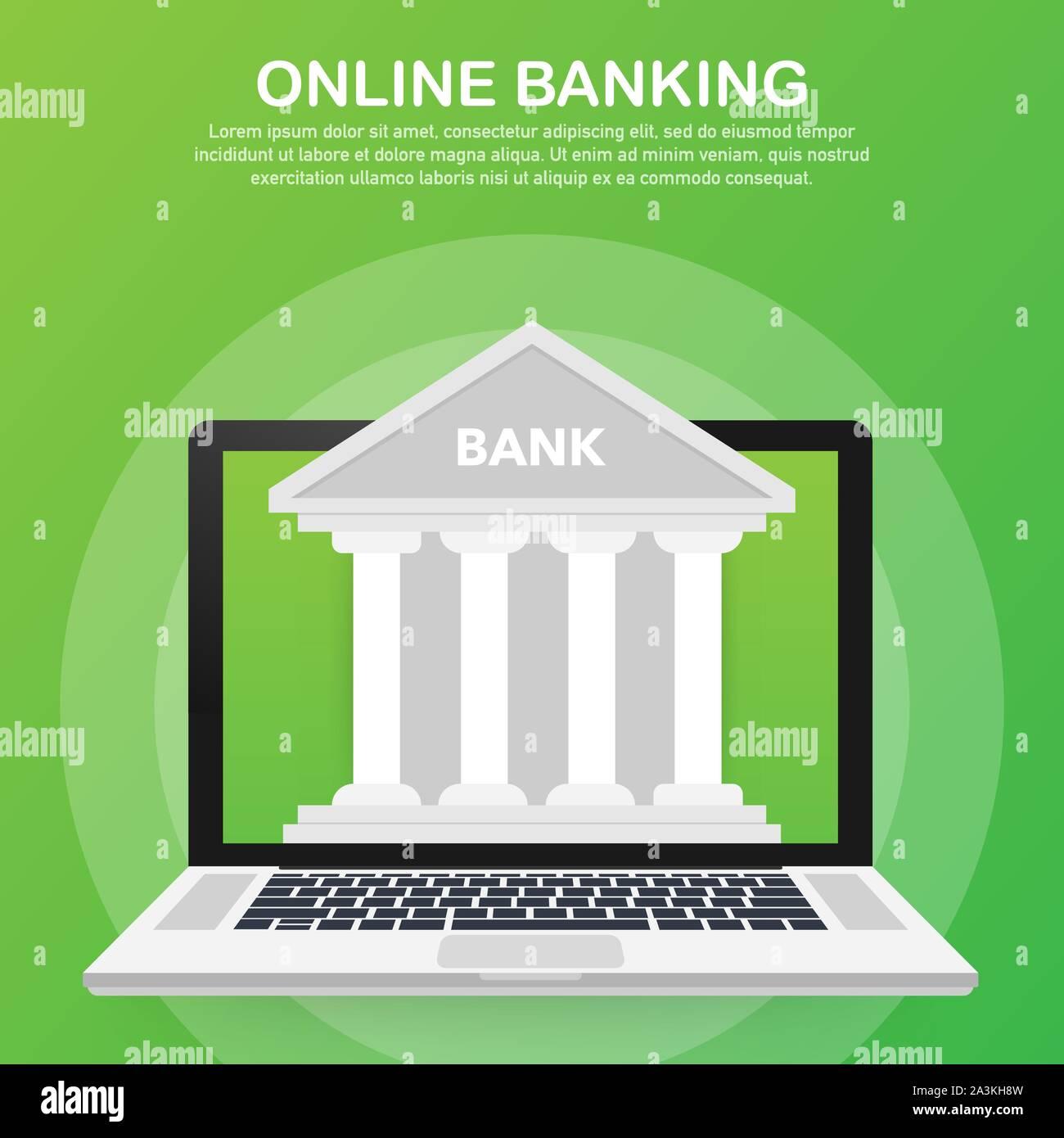 Web Concept For Online Banking Modern Banner For Internet Banking Vector Stock Illustration Stock Vector Image Art Alamy