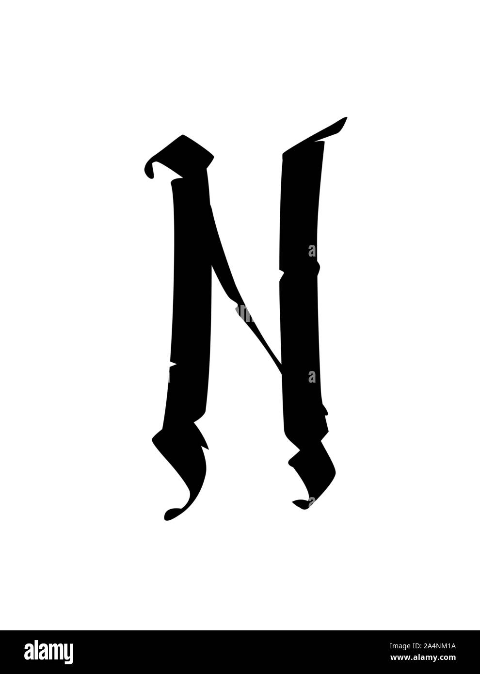 N In Calligraphy : calligraphy, Letter, Gothic, Style., Vector., Alphabet., Symbol, Isolated, Golden, Background., Calligraphy, Lettering., Medieval, Latin, Letter., Stock, Vector, Image, Alamy