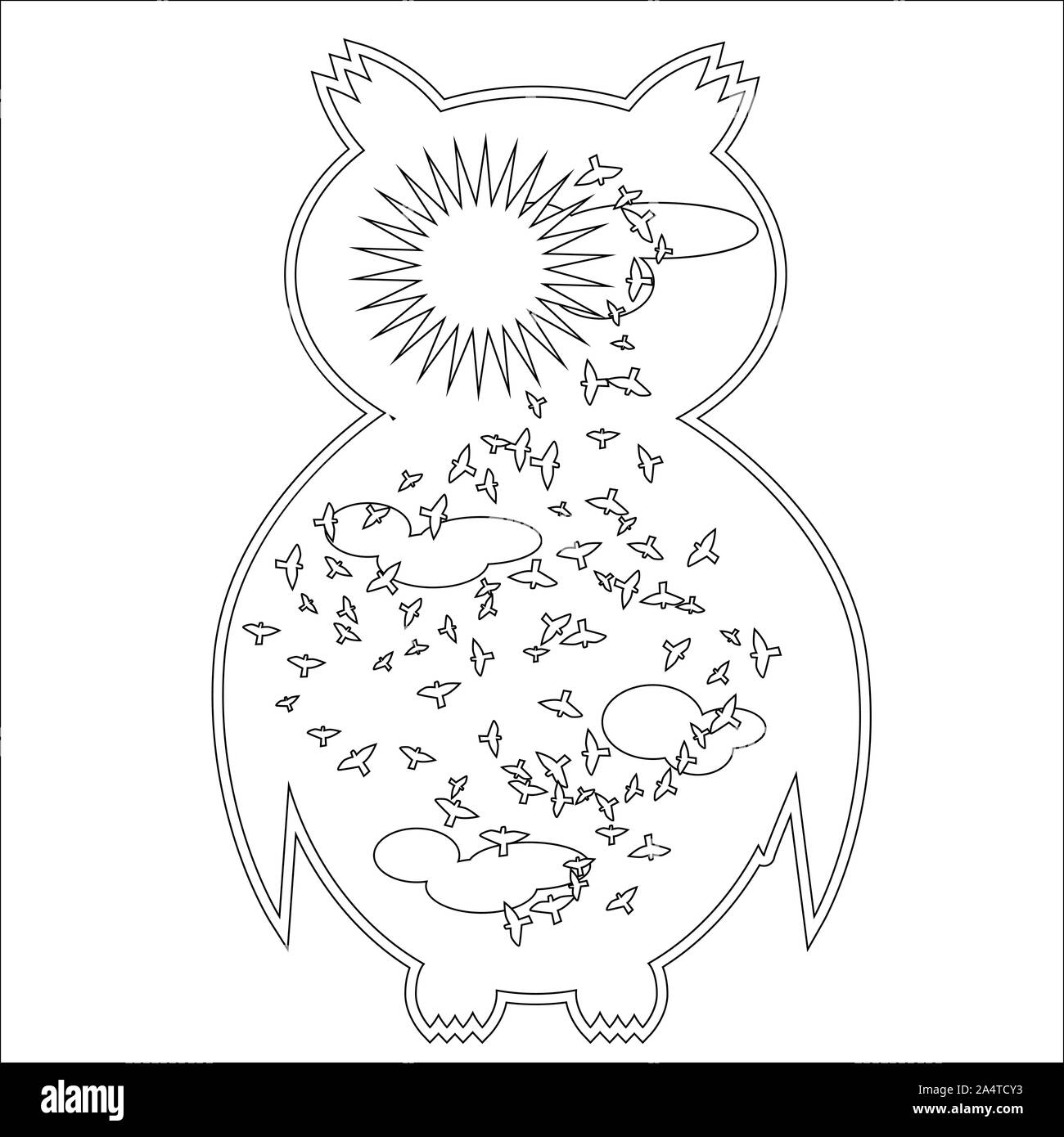 Coloring Page With Symbol Moon Sun Owl Coloring Book For Adult Antistress Album Wall Mural Art Tattoo Black And White Outline Illustration Stock Photo Alamy