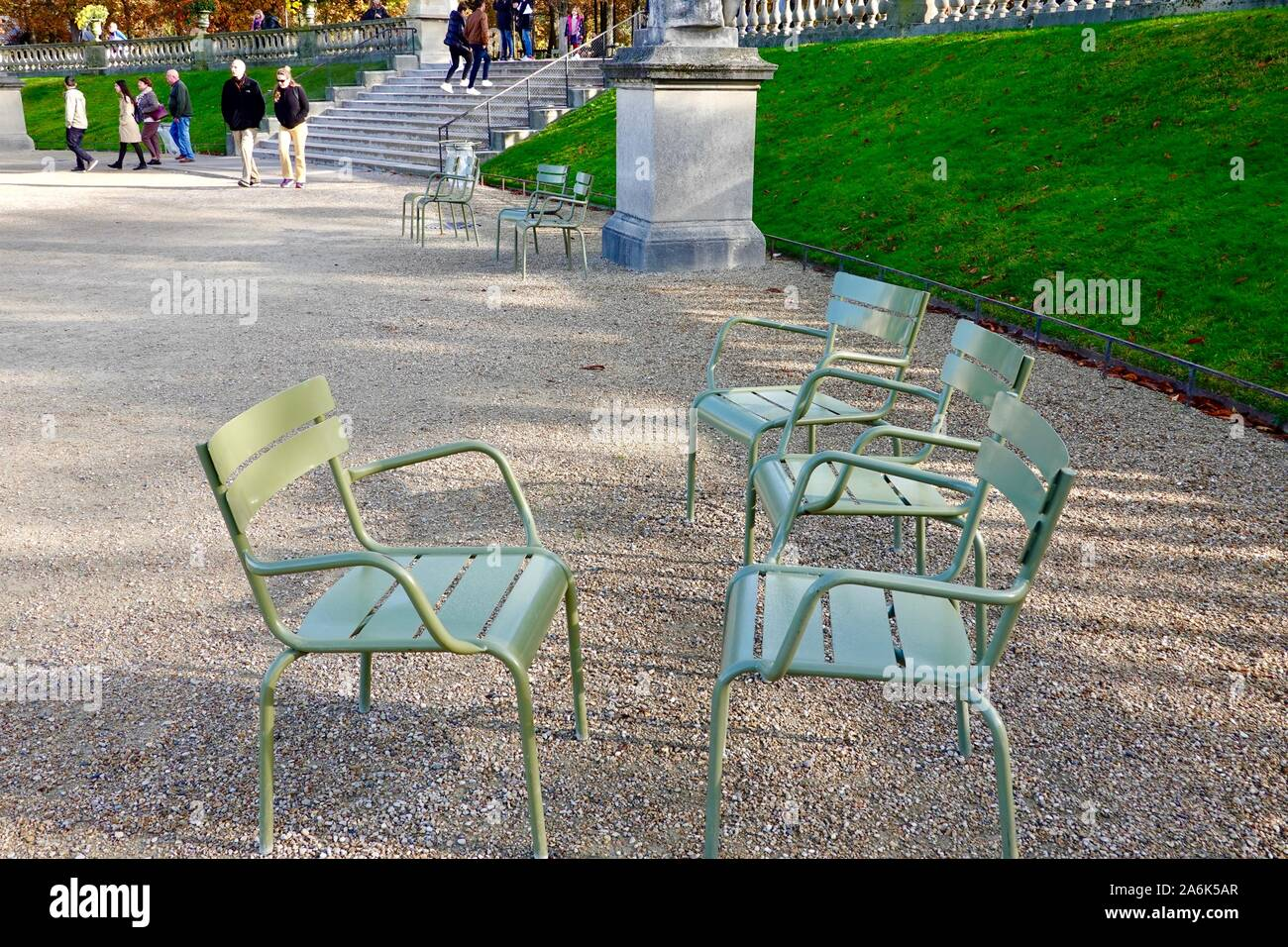 Green chair stock photos and images. https www alamy com green chairs in the iconic luxembourg gardens autumn october in paris france image331106239 html