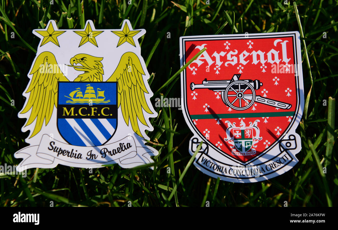 https www alamy com september 6 2019 london uk emblems of english football clubs arsenal fc london and manchester city on the green lawn grass image331446637 html