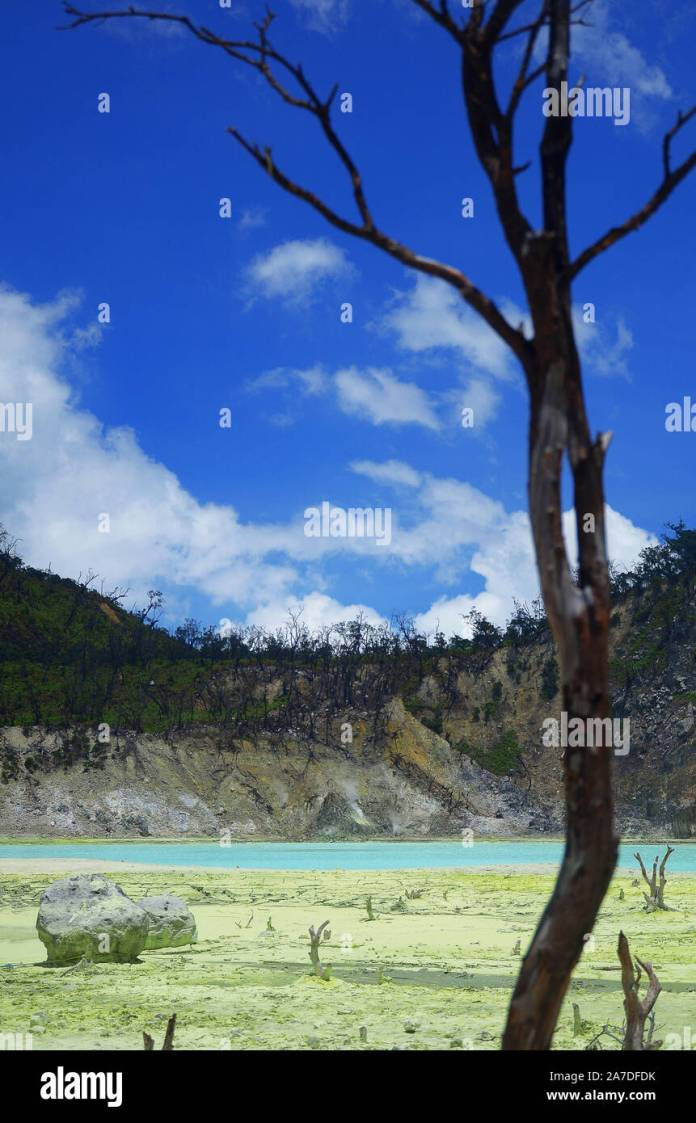 Lake In Mountain Kawah Putih Ciwidey Bandung West Java Indonesia Stock Photo Alamy