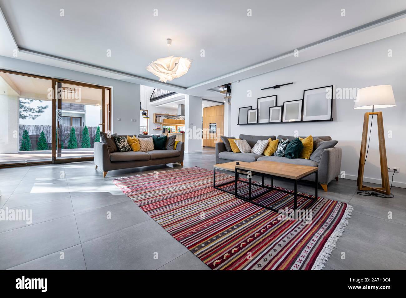 https www alamy com modern interior design livingroom with gray tile flooring image331673108 html