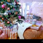 On Trend Pink And Rose Gold Trimmed Christmas Tree With Tray Of Cookies And Hot Chocolate For Santa Stock Photo Alamy
