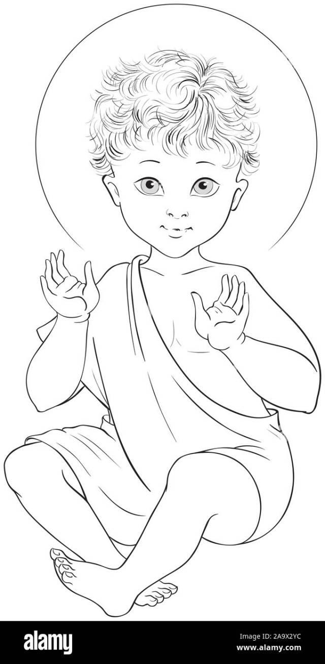 Baby Jesus Seated cartoon coloring page Stock Photo - Alamy