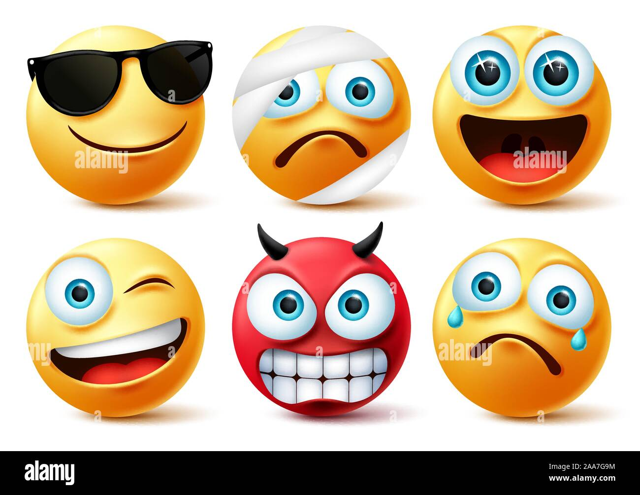 Smiley Emoticon Or Emoji Face Vector Set Smileys Yellow Face Icon And Emoticons In Devil Injured Surprise Angry And Funny Facial Expressions Stock Vector Image Art Alamy