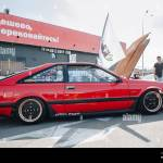 Kyiv 28 July 2019 Jdm Car Show Outdoor Tuned Japanese Drift Cars Expo In Summer Modified Retro Nissan Silvia S12 Vehicle With Lowered Suspension And Stock Photo Alamy
