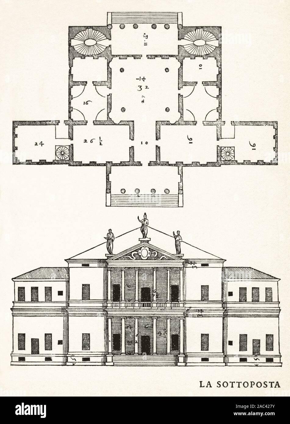 Andrea Palladio Villa La Sottoposta Facade Elevation Drawing Woodcut Print From The Four Books Of Architecture 1570 Italian Renaissance Stock Photo Alamy