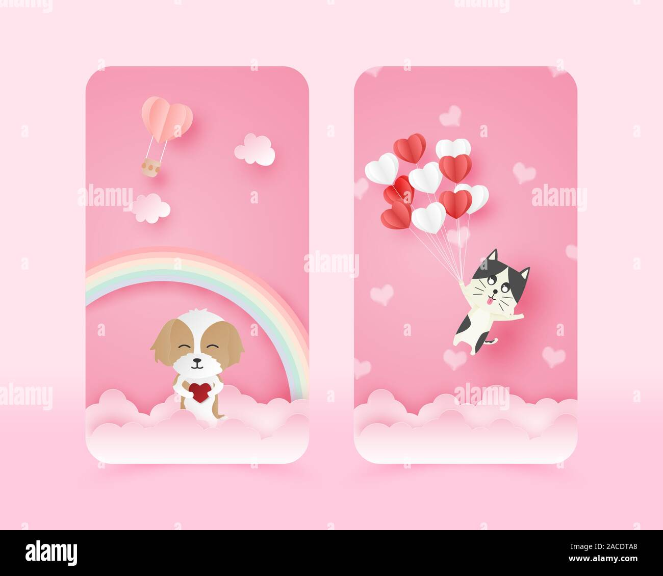 Illustration Of Love Cute Mobile Wallpaper In Paper Cut Style Digital Craft Paper Art Happy Dog And Flying Cat Stock Vector Image Art Alamy