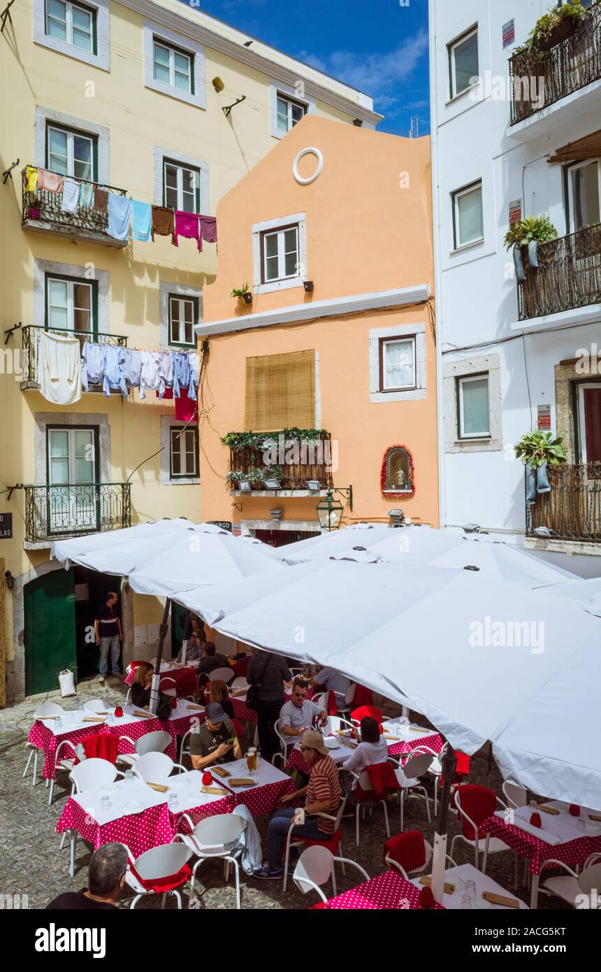 Lisbon Portugal Outdoors Restaurant In The Alfama The