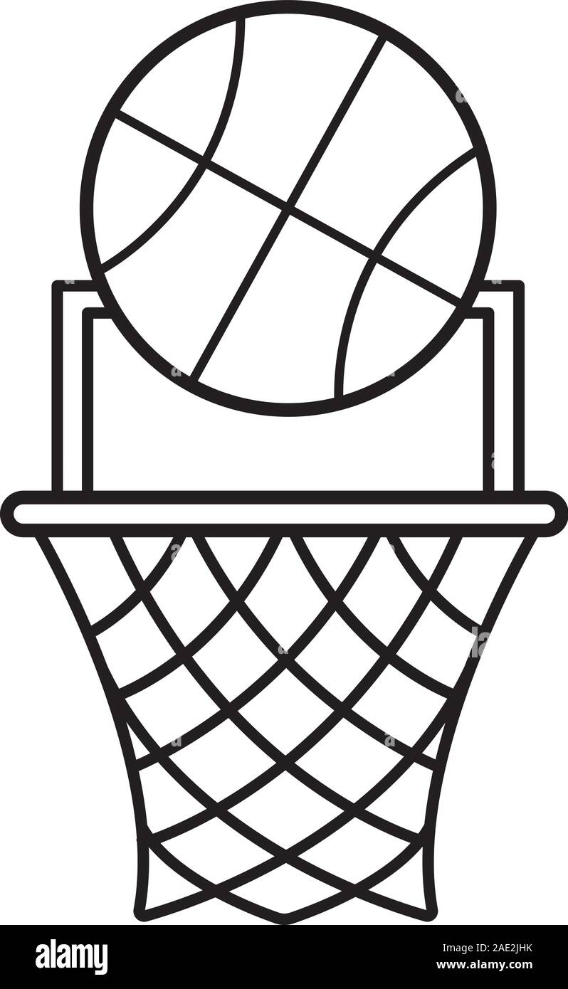Basketball Hoop Drawing : basketball, drawing, Basketball, Point, Linear, Icon., Illustration., Contour, Symbol., Vector, Isolated, Outline, Drawing, Stock, Image, Alamy