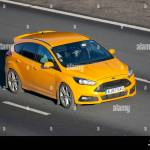 2017 Yellow Ford Focus St 2 Turbo Vehicular Traffic Transport Modern Vehicles Saloon Cars South Bound Motoring On The M61 Motorway Uk Stock Photo Alamy