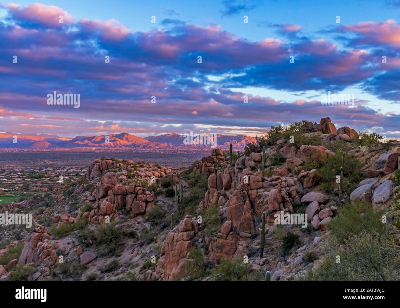 Pinnacle peak park is a city of scottsdale maintained park. Early Morning Sunrise View Off Pinnacle Peak Hiking Trail And Park In North Scottsdale Arizona Stock Photo Alamy