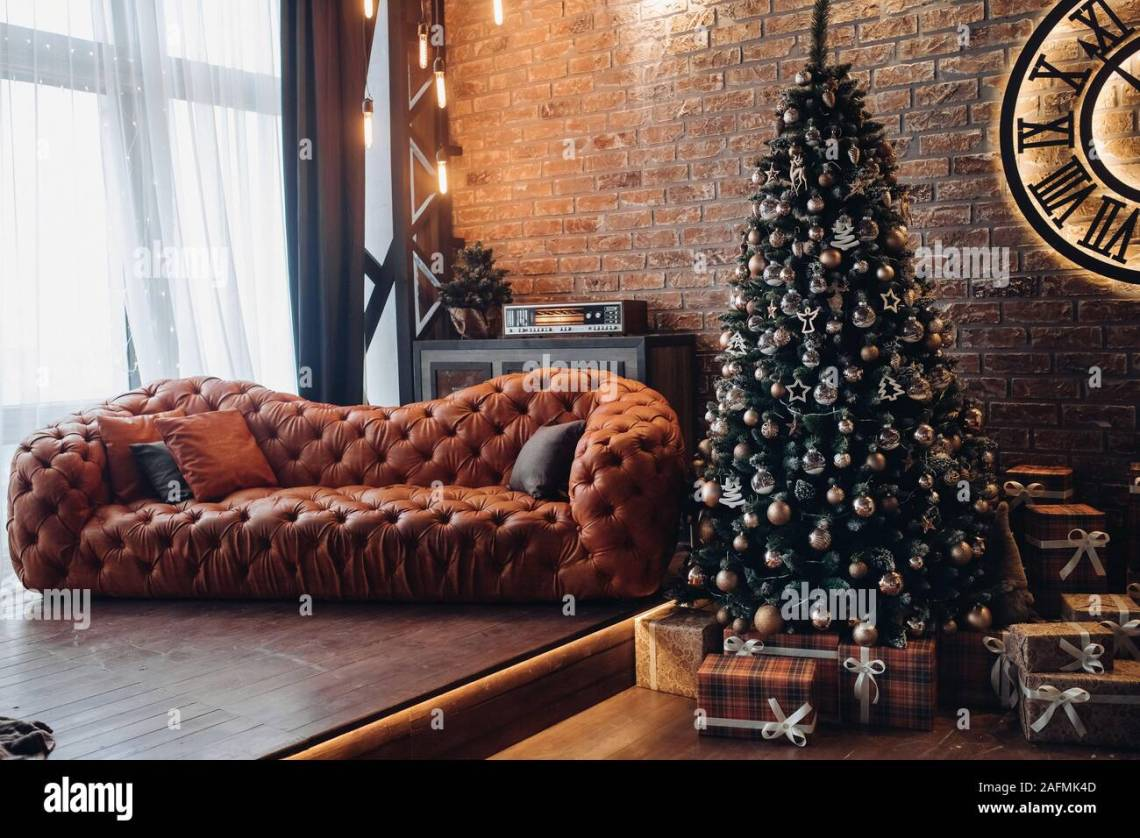Red Leather Sofa In Beautiful Loft Room Stock Photo Alamy