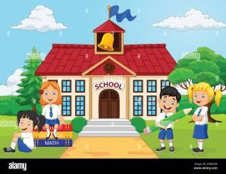 escuela primaria dibujos ninos animados cartoon mi scuola yard elementary grupo ir casa patio bambini cortile kinder alamy vector