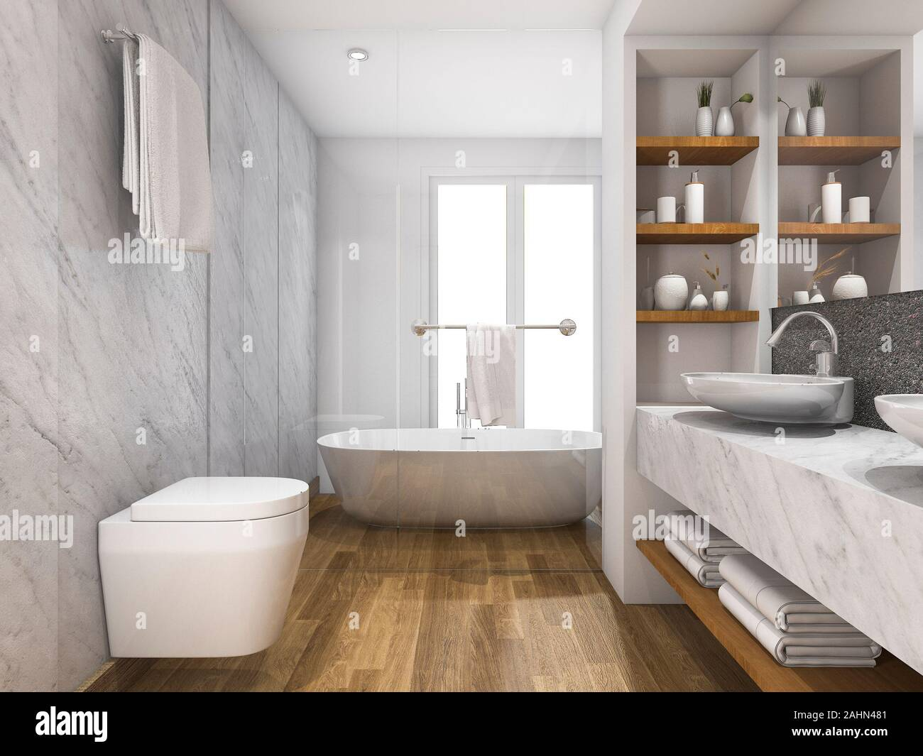 https www alamy com 3d rendering beautiful wood and marble toilet and bathroom with built in image337910497 html