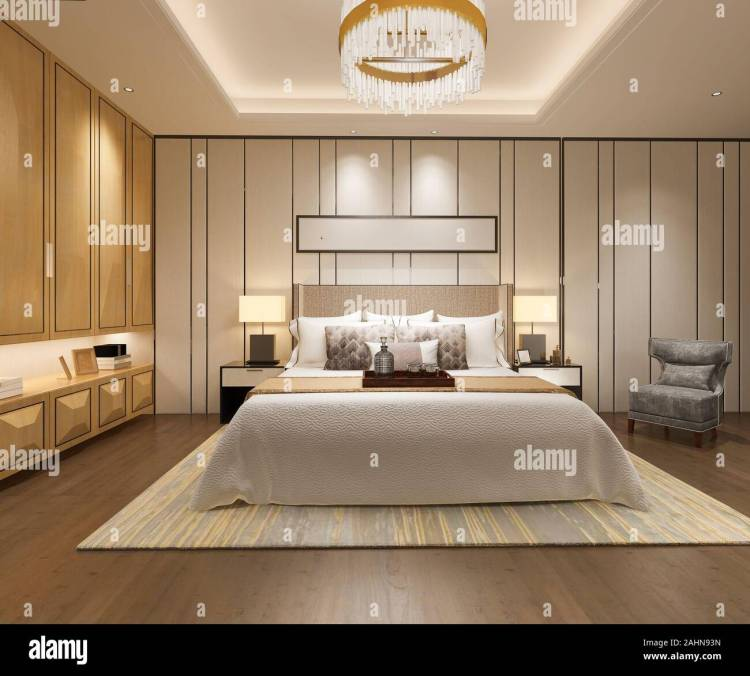 3d Rendering Luxury Modern Bedroom Suite In Hotel With Wardrobe And Walk In Closet Stock Photo Alamy