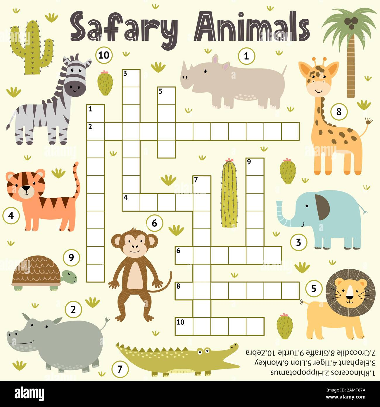 Crossword For Kids With Cute Safari Animals Word Search