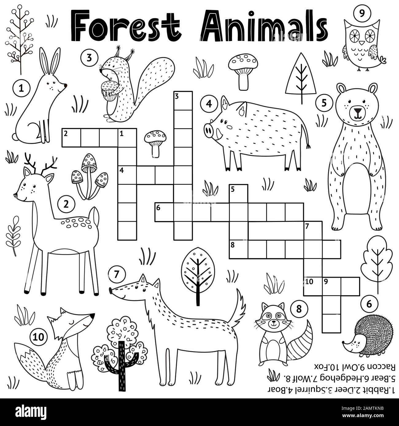 Black And White Crossword For Kids With Forest Animals