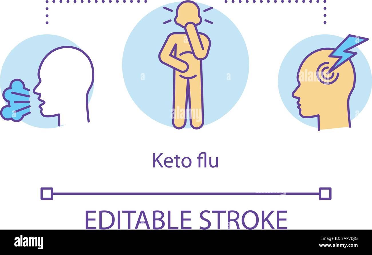 Keto flu concept icon. Ketogenic diet side effects idea thin line ...