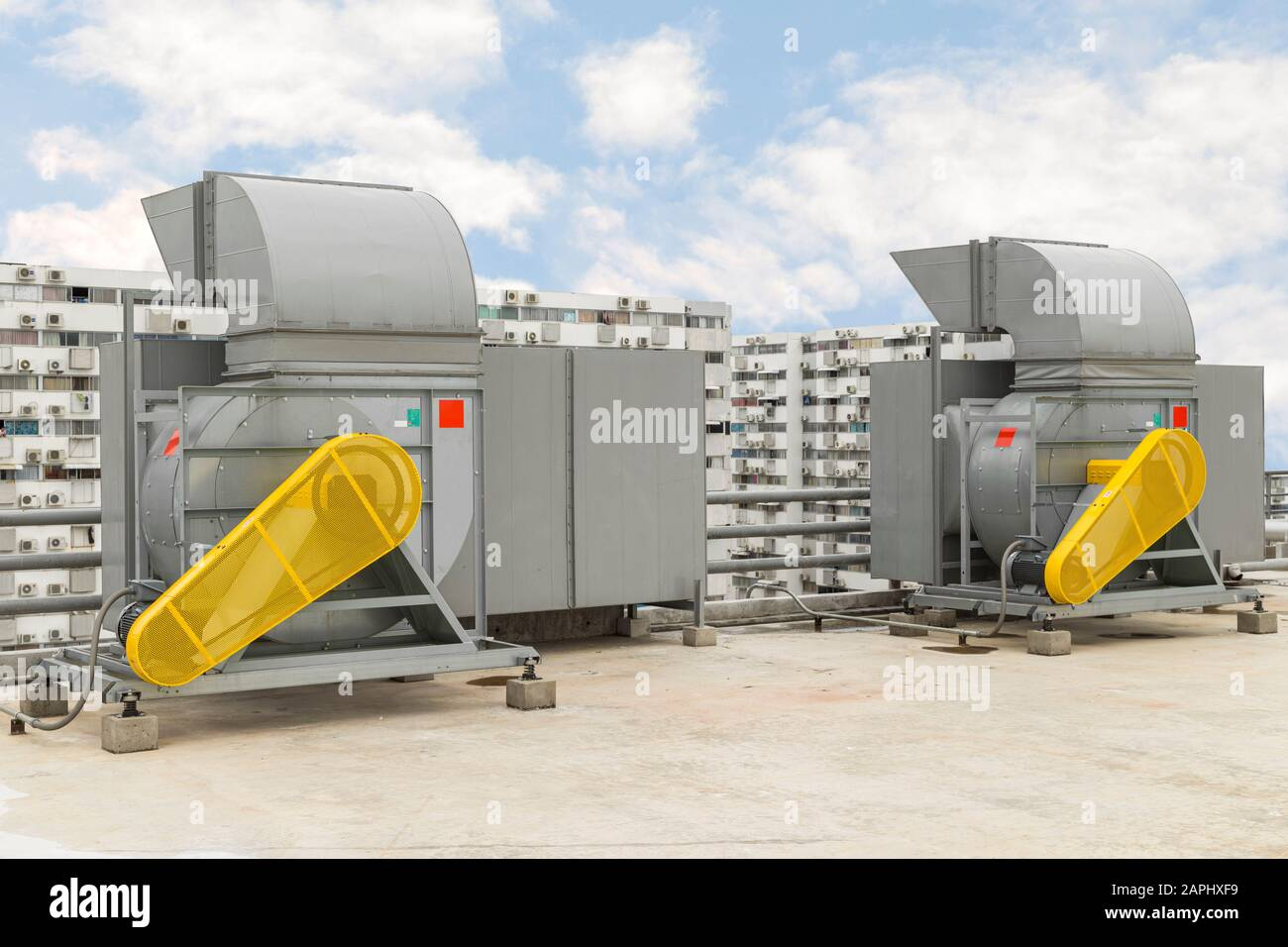 https www alamy com industrial centrifugal fan and exhaust vents of industrial air conditioning in ventilation systems skyscraper roof top from high building image340913421 html