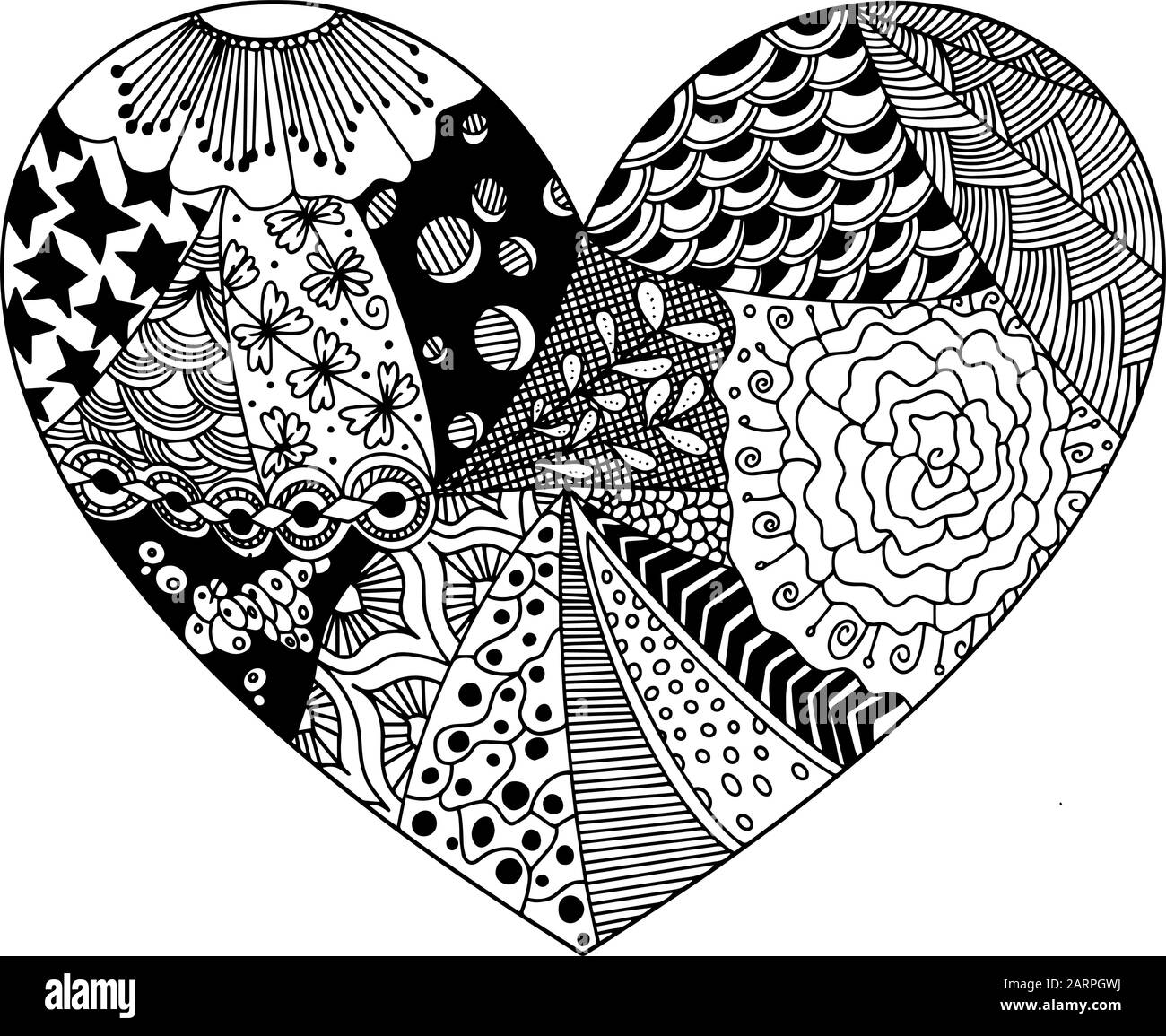 Vector Coloring From Zentangle Patterns In The Form Of