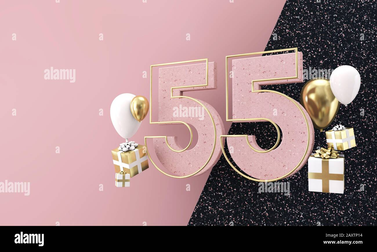 https www alamy com happy 55th birthday party celebration modern marble composition 3d render image343522176 html