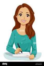 Illustration of a Teenage Hispanic Girl Student Writing Notes and Studying Stock Photo Alamy