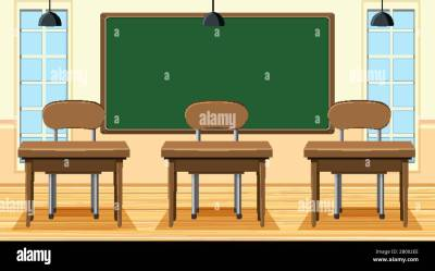 Empty classroom with board and desks illustration Stock Vector Image & Art Alamy