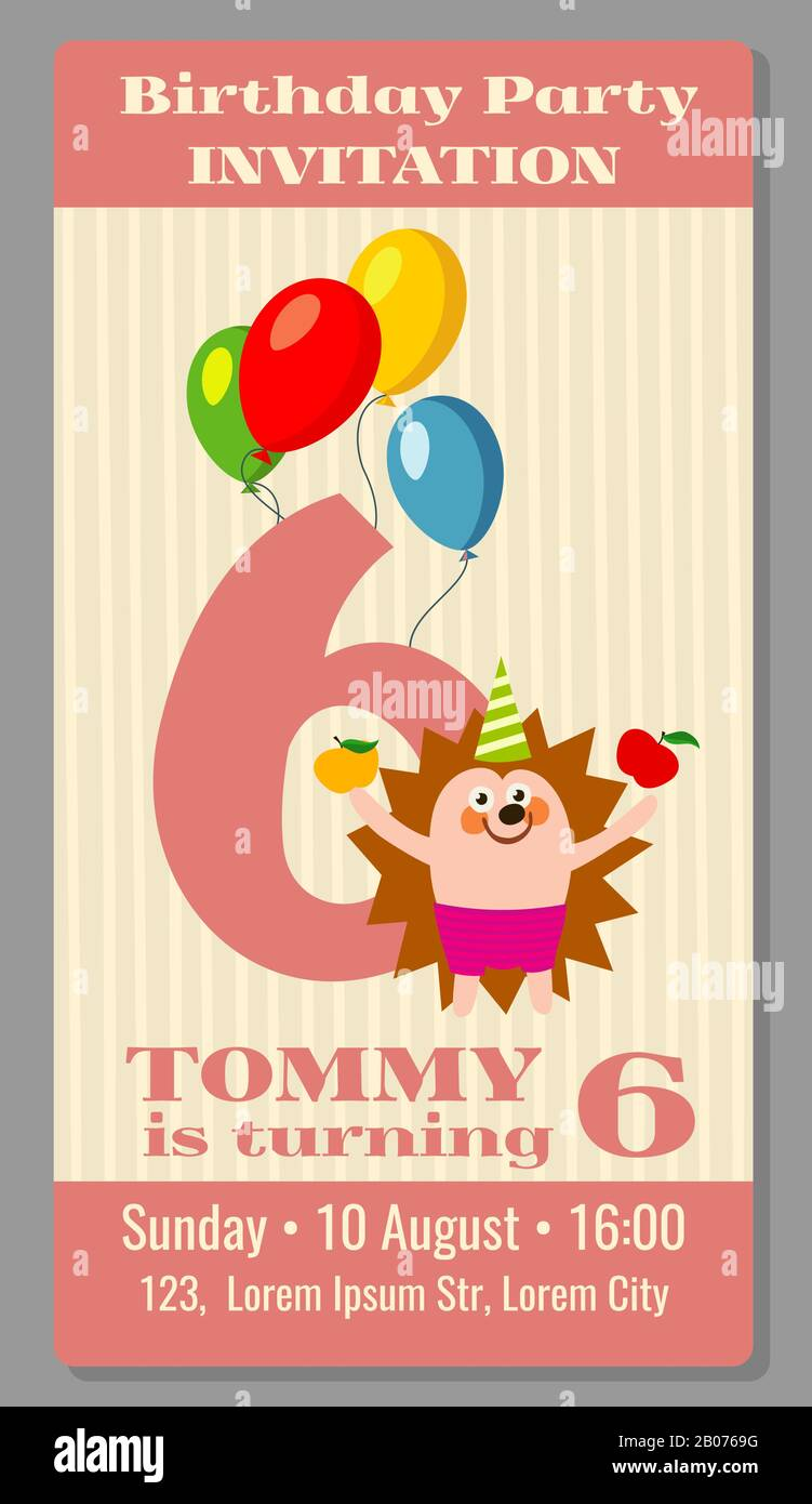 https www alamy com kids birthday party invitation card with funny hedgehog vector illustration image344365996 html