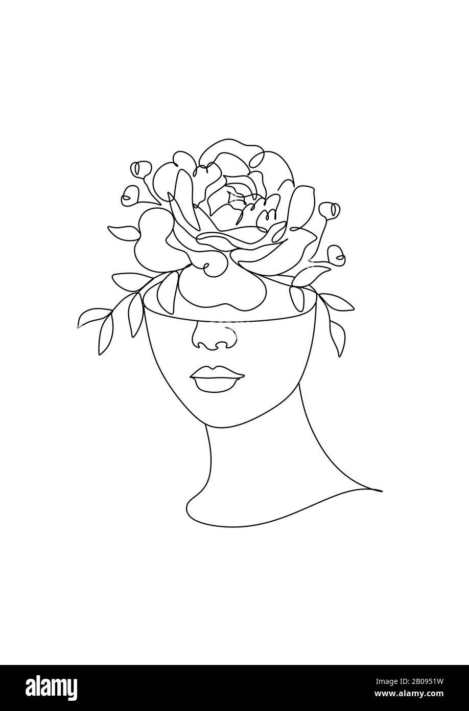 Girl With Flower Head Drawing : flower, drawing, Woman, Nature, Drawing., Leaves, Vector., Nature., Earth, Abstract, Flowers, Vector, Portrait, Minimalist, Stock, Photo, Alamy
