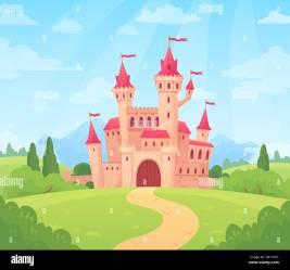 cartoon castle kingdom palace fairytale fairy magic fantasy vector castles fantastic alamy tower landscape