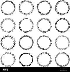 Circle leaf frames Floral leaves round frame flower ornament circles and flowers circled border isolated vector set Stock Vector Image & Art Alamy