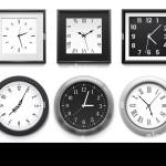 Realistic Clock Modern White Round Wall Clocks Black Watch Face And Time Watch Mockup 3d Vector Illustration Set Stock Vector Image Art Alamy