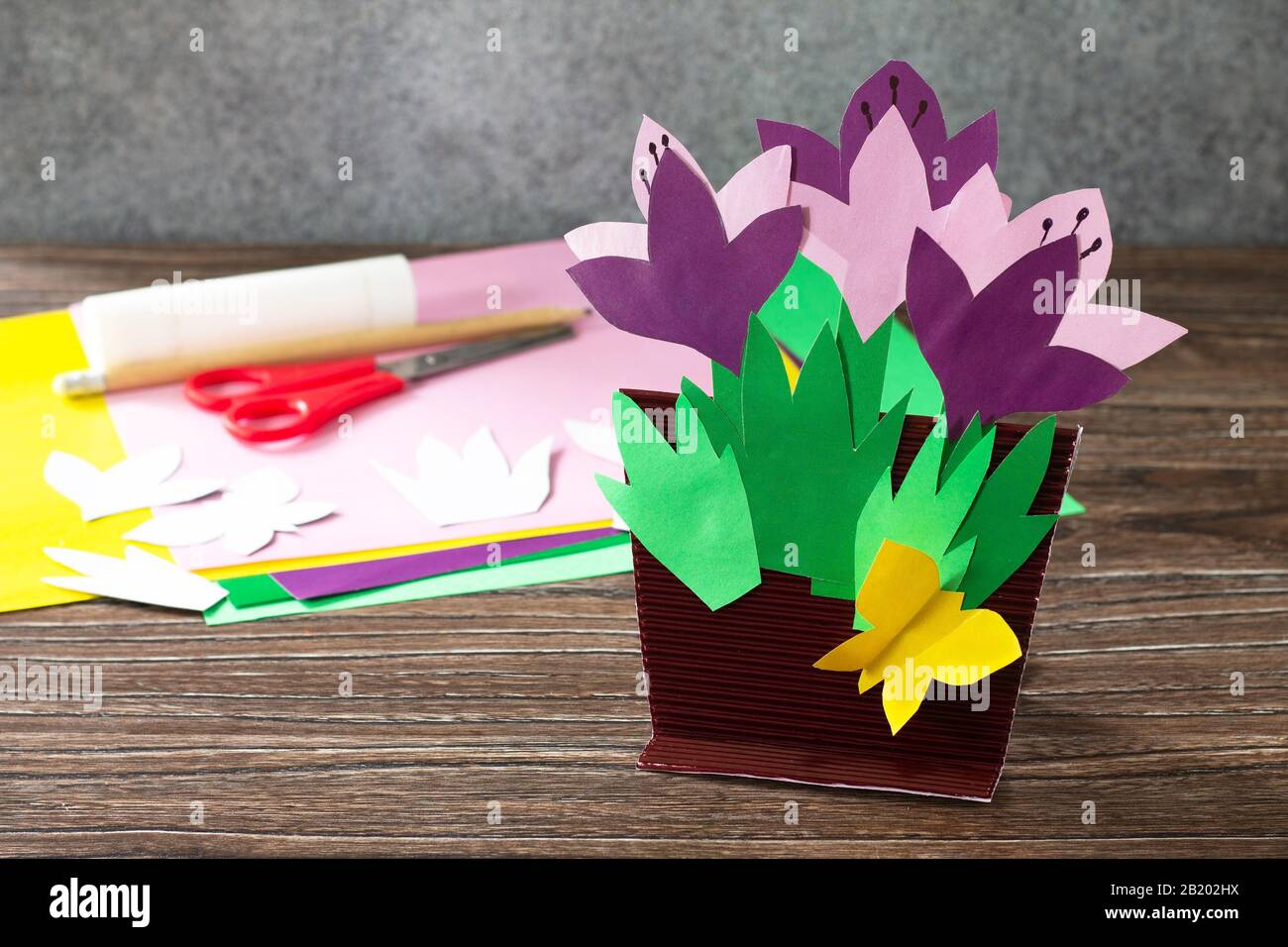 Greeting Card For Mother S Day With Spring Flowers Crocuses Handmade Paper Craft Ideas The Project Of Children S Creativity Crafts Crafts For Chil Stock Photo Alamy