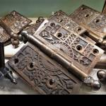 Antique Brass Door Hinges For Rebuilding And Replacements In Homes And Other Buildings Stock Photo Alamy