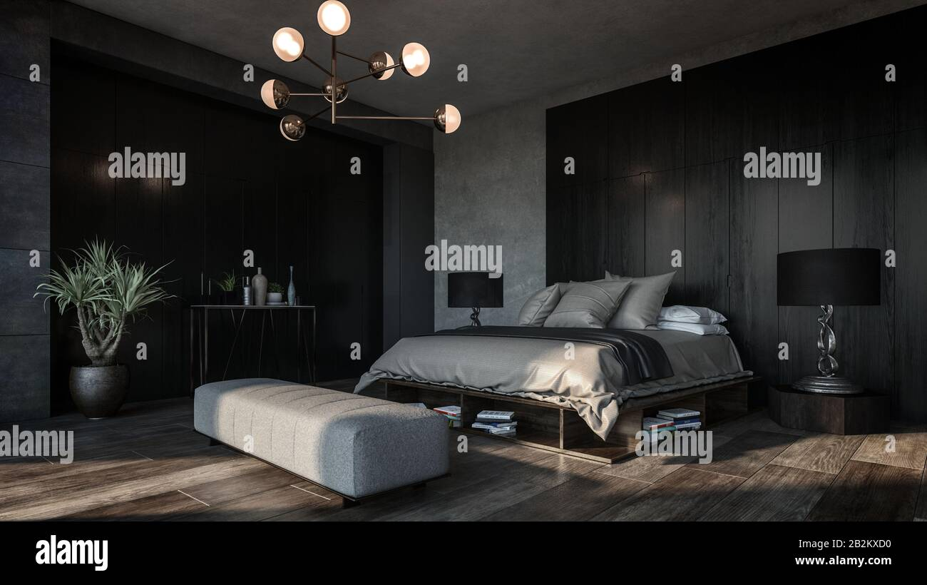 https www alamy com design of luxury bedroom with dark interior of black and grey walls big floor lamps and modern furniture diagonal view of the room image345874508 html