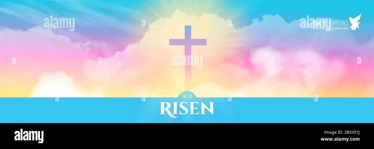 Christian Religious Design For Easter Celebration Narrow Horizontal Banner Stock Vector Image Art Alamy