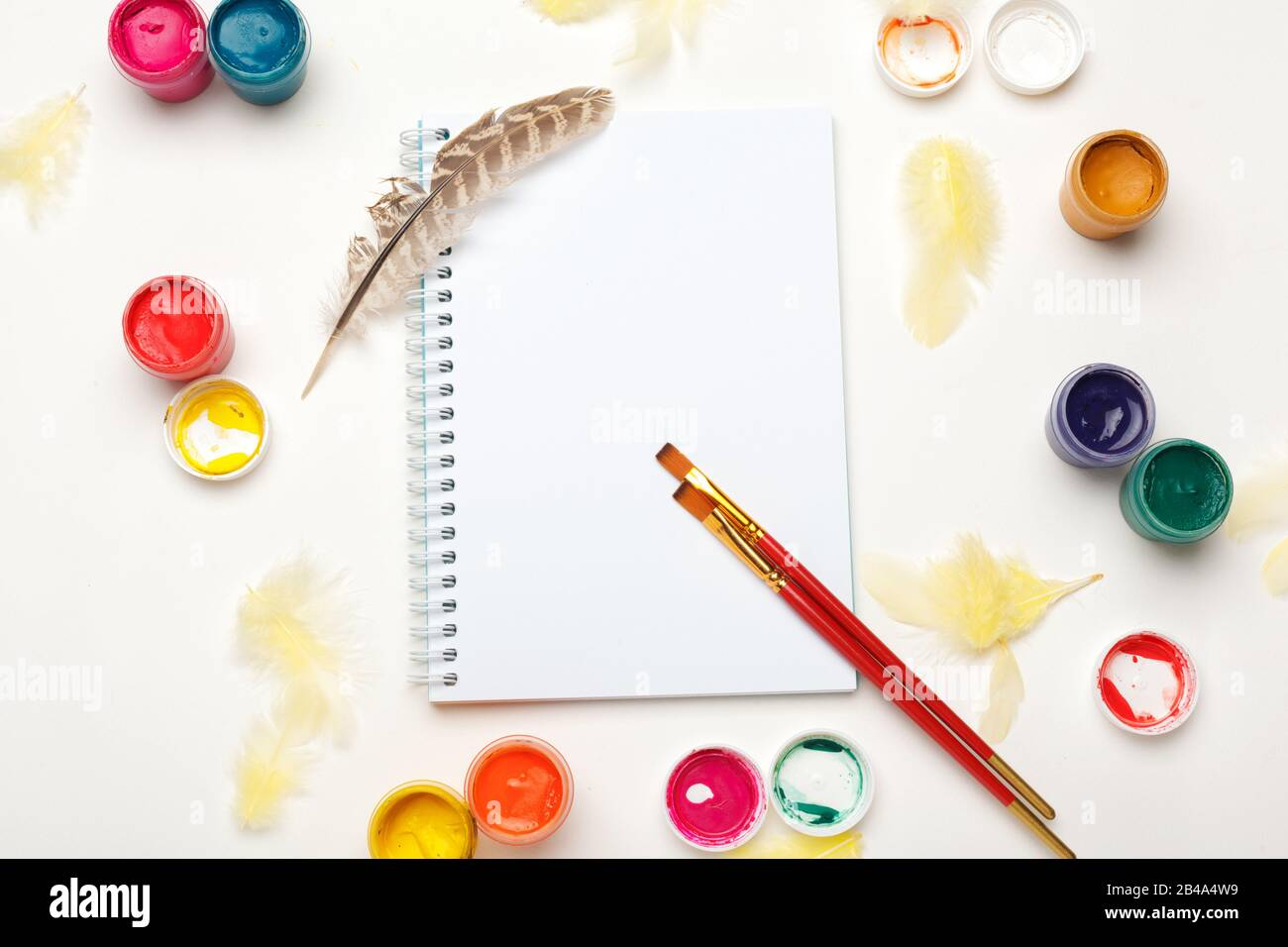 Paper Watercolors Paint Brush And Some Art Stuff On A Table Top View Stock Photo Alamy