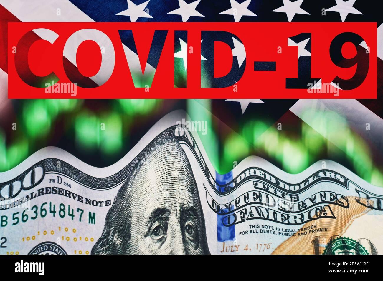 Concept of stock financial markets crash on coronavirus fears. US ...