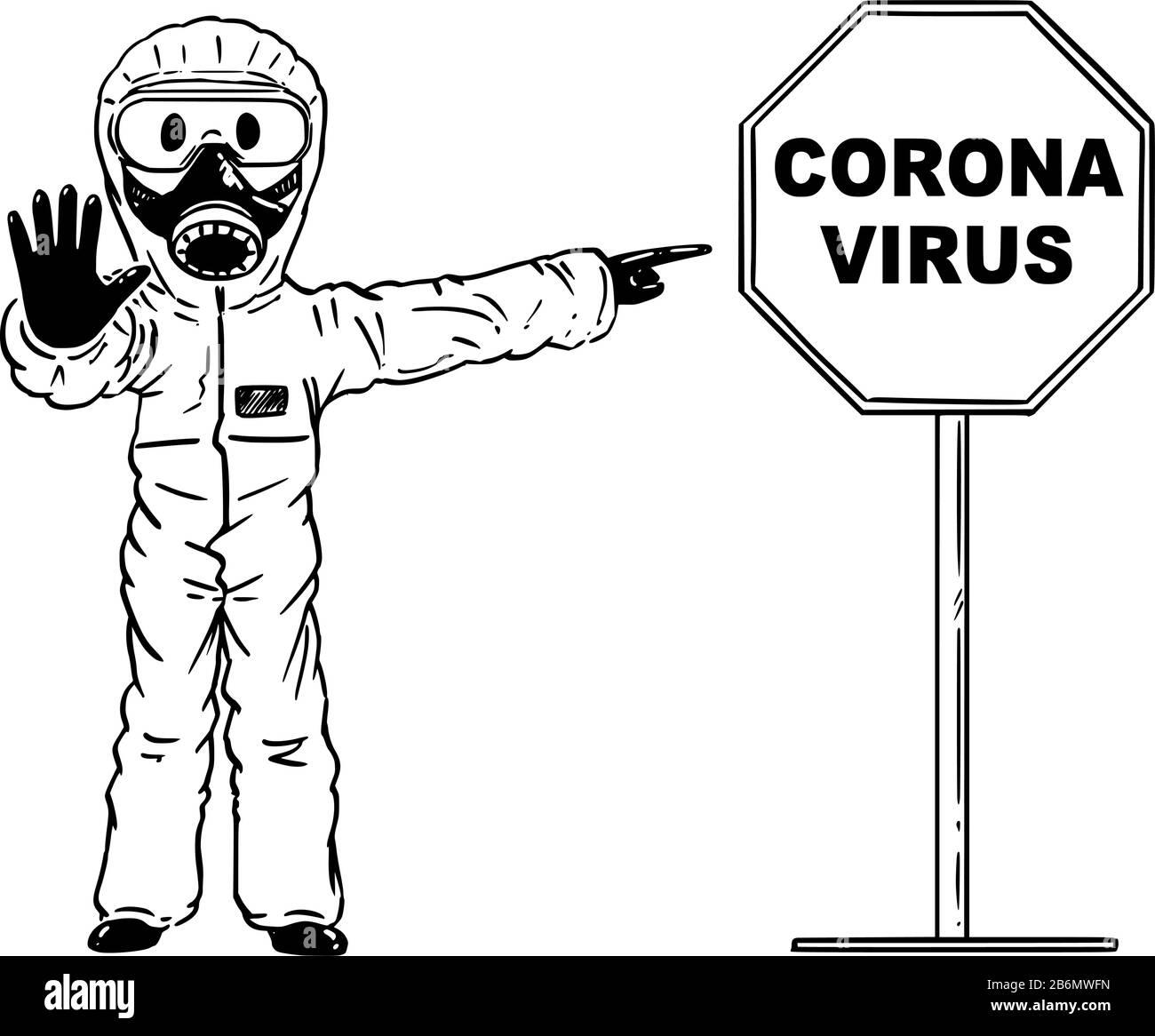 Corona Virus Mask Man Drawing