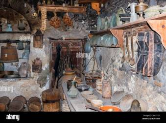 Old kitchen in monastery Medieval style Stock Photo Alamy