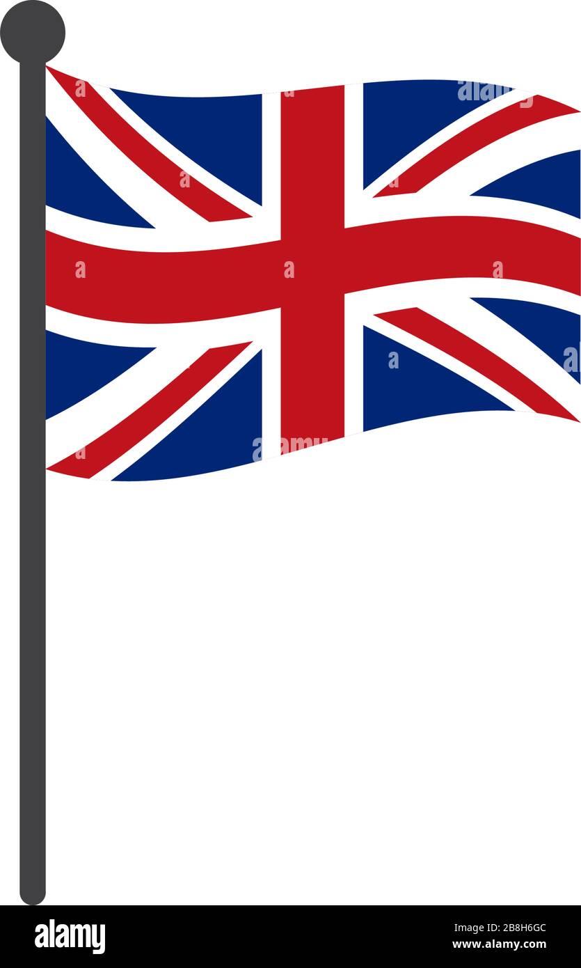 England Flag Vector : england, vector, United, Kingdom, Vector, Illustration, Flagpole, Isolated, White, Stock, Image, Alamy