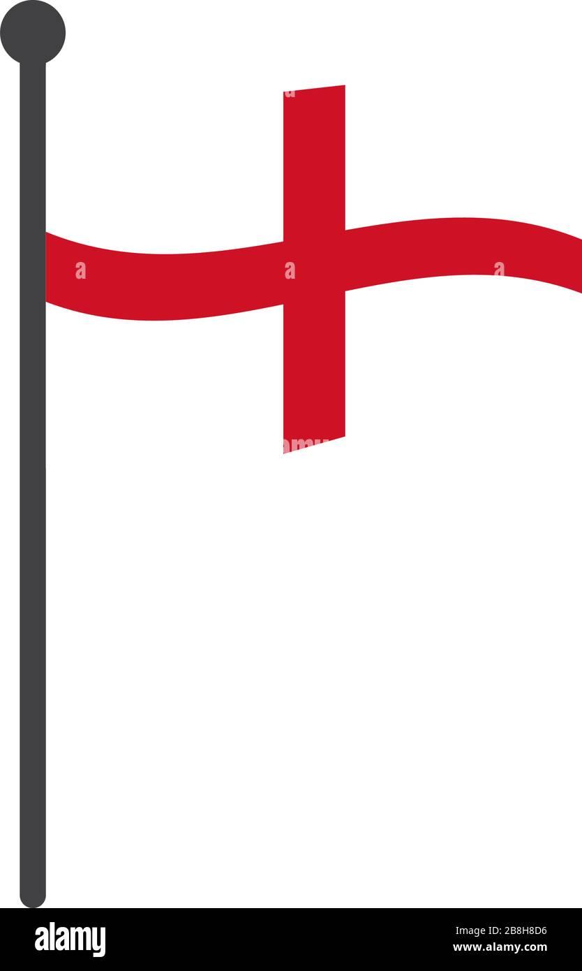 England Flag Vector : england, vector, England, Vector, Illustration, Flagpole, Isolated, White, Stock, Image, Alamy