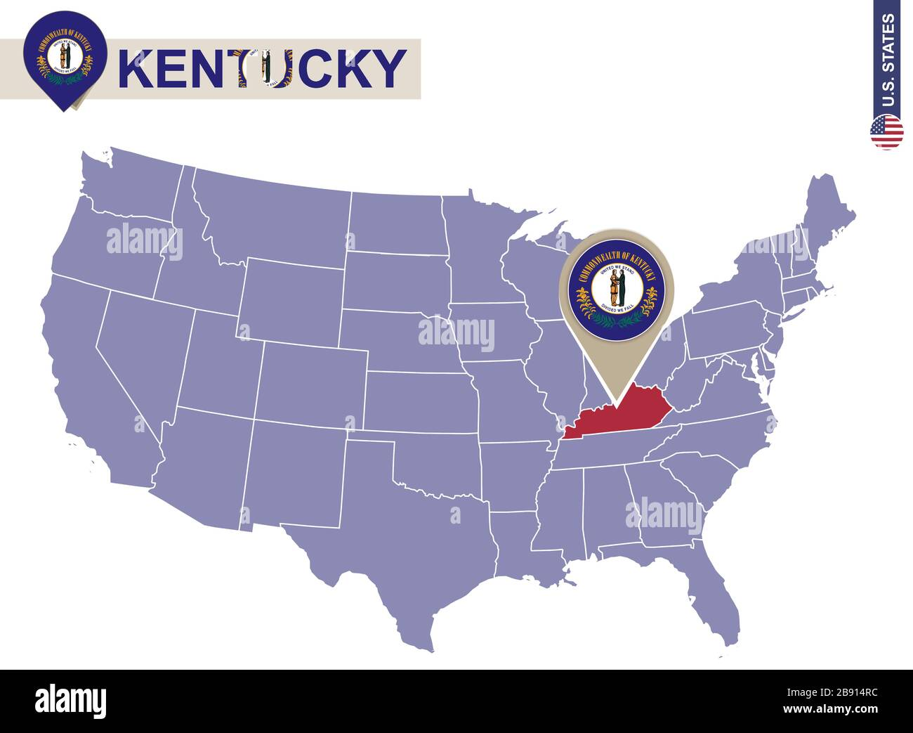 Go back to see more maps of kentucky  u.s. Kentucky State On Usa Map Kentucky Flag And Map Us States Stock Vector Image Art Alamy