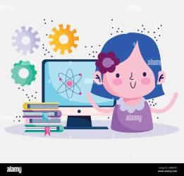 education online cute girl study science computer books coronavirus pandemic vector illustration Stock Vector Image & Art Alamy
