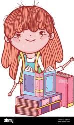 cute little girl with books study literature cartoon vector illustration Stock Vector Image & Art Alamy